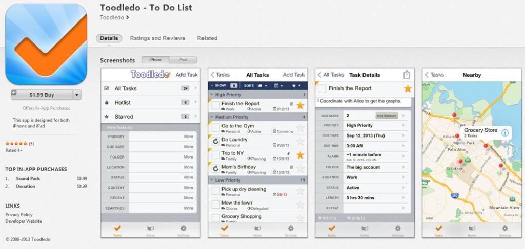 toodledo task lists