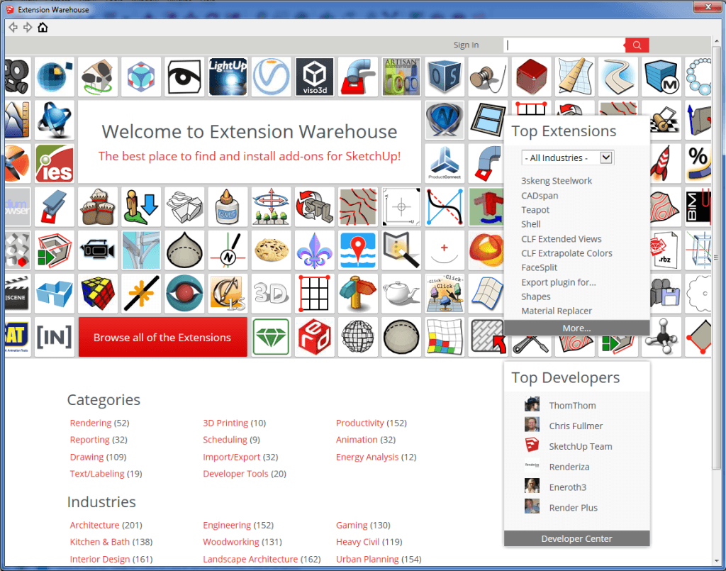 sketchup extension warehouse