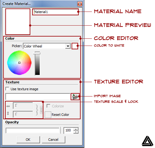 sketchup create material window