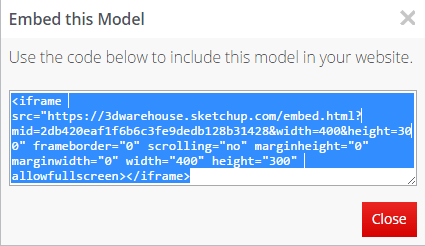 How to Embed Sketchup Models from the 3dWarehouse Into Your