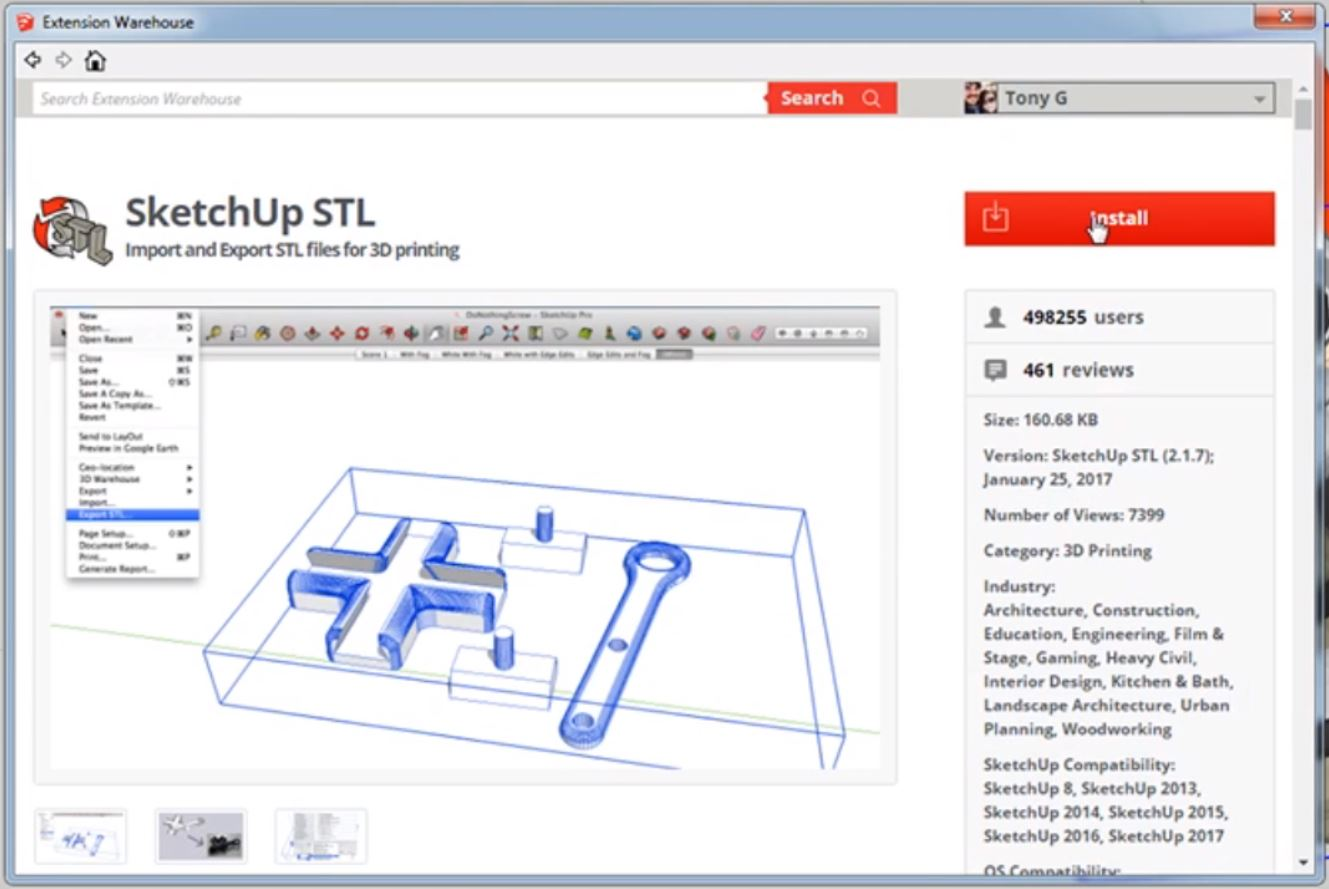 from Sketchup to STL install button