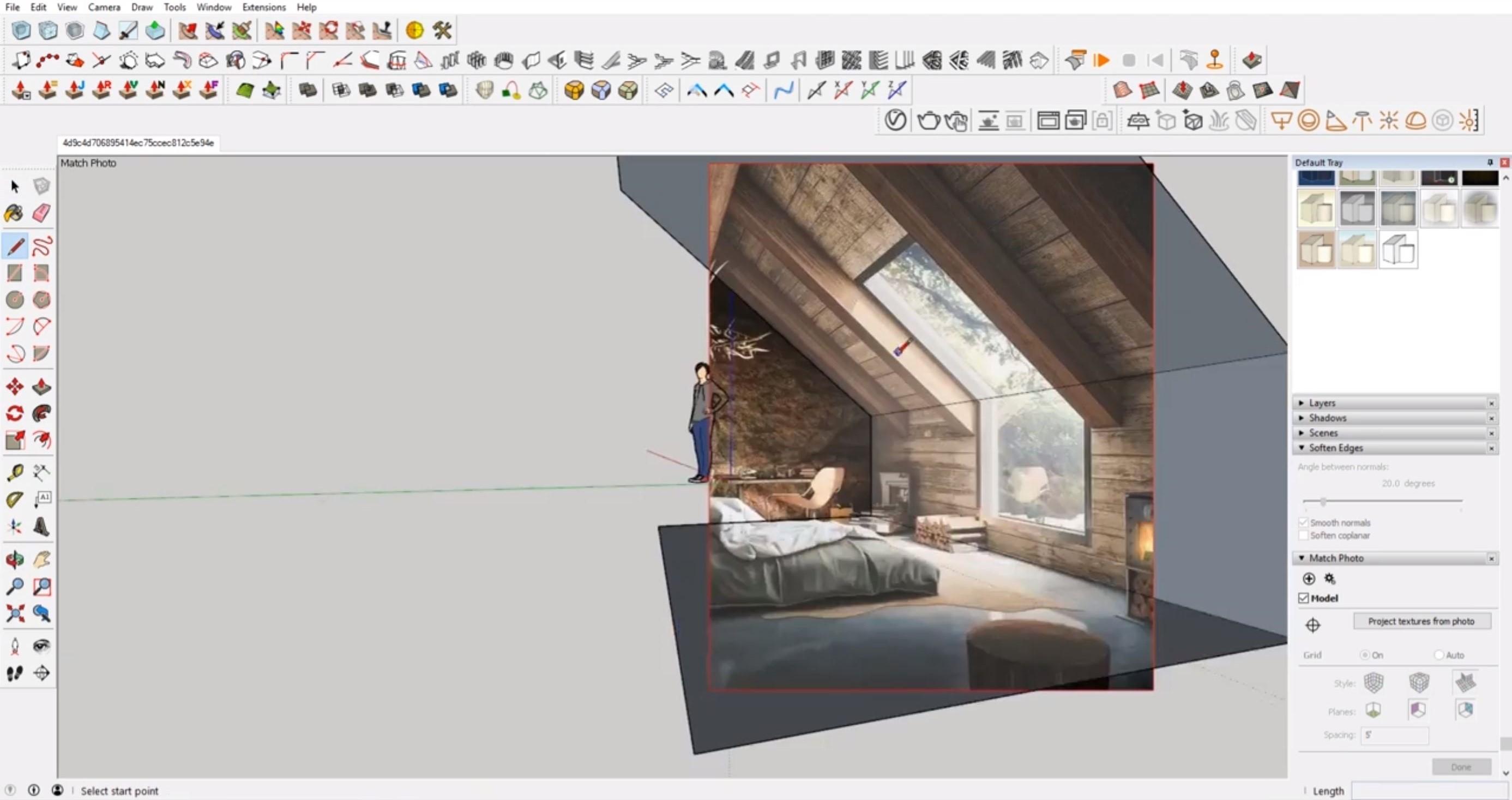 creating planes in interior Sketchup cozy attic bedroom model