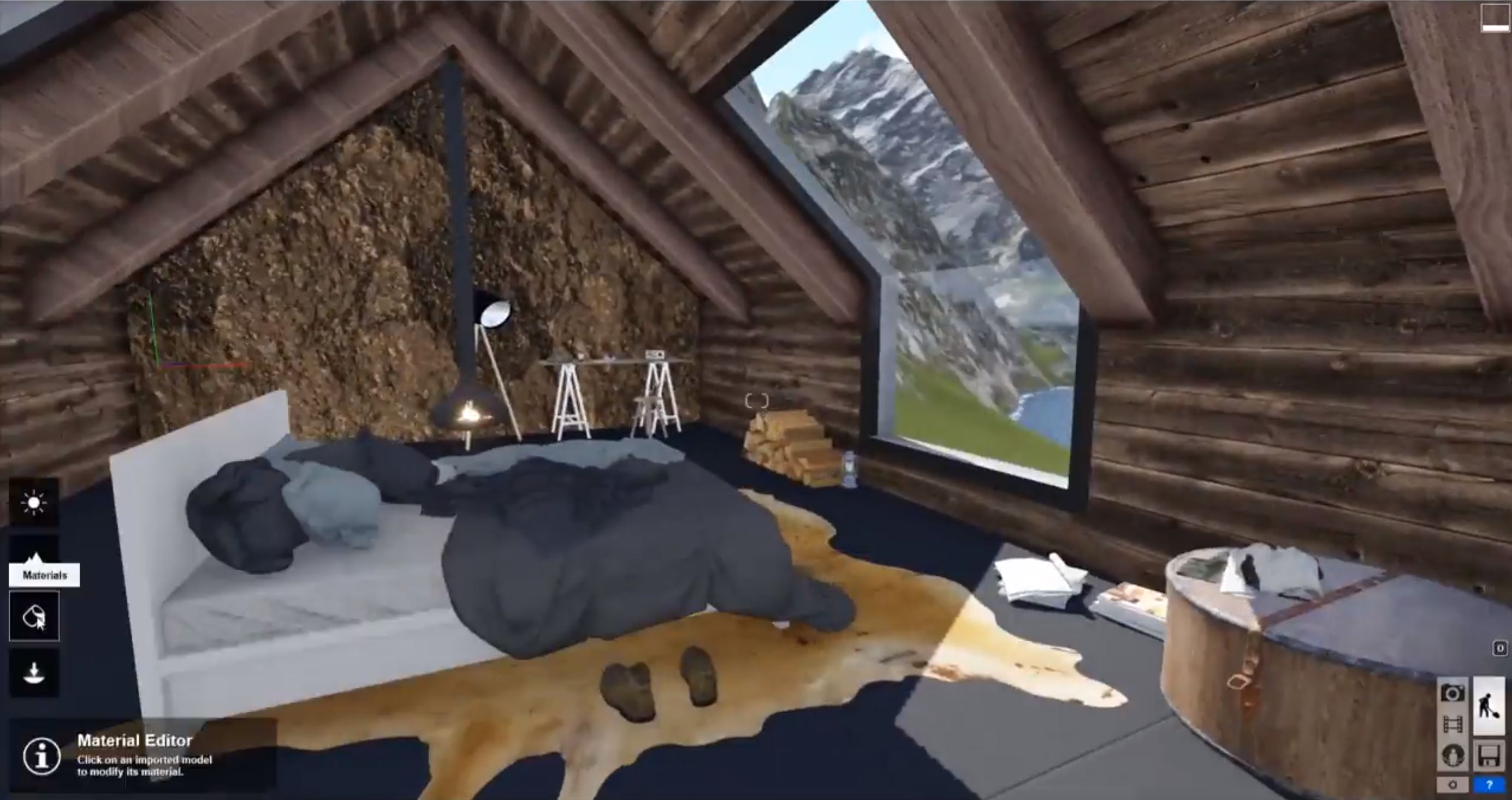 Interior Sketchup Attic Bedroom Speed Model Trimble Sketchup And