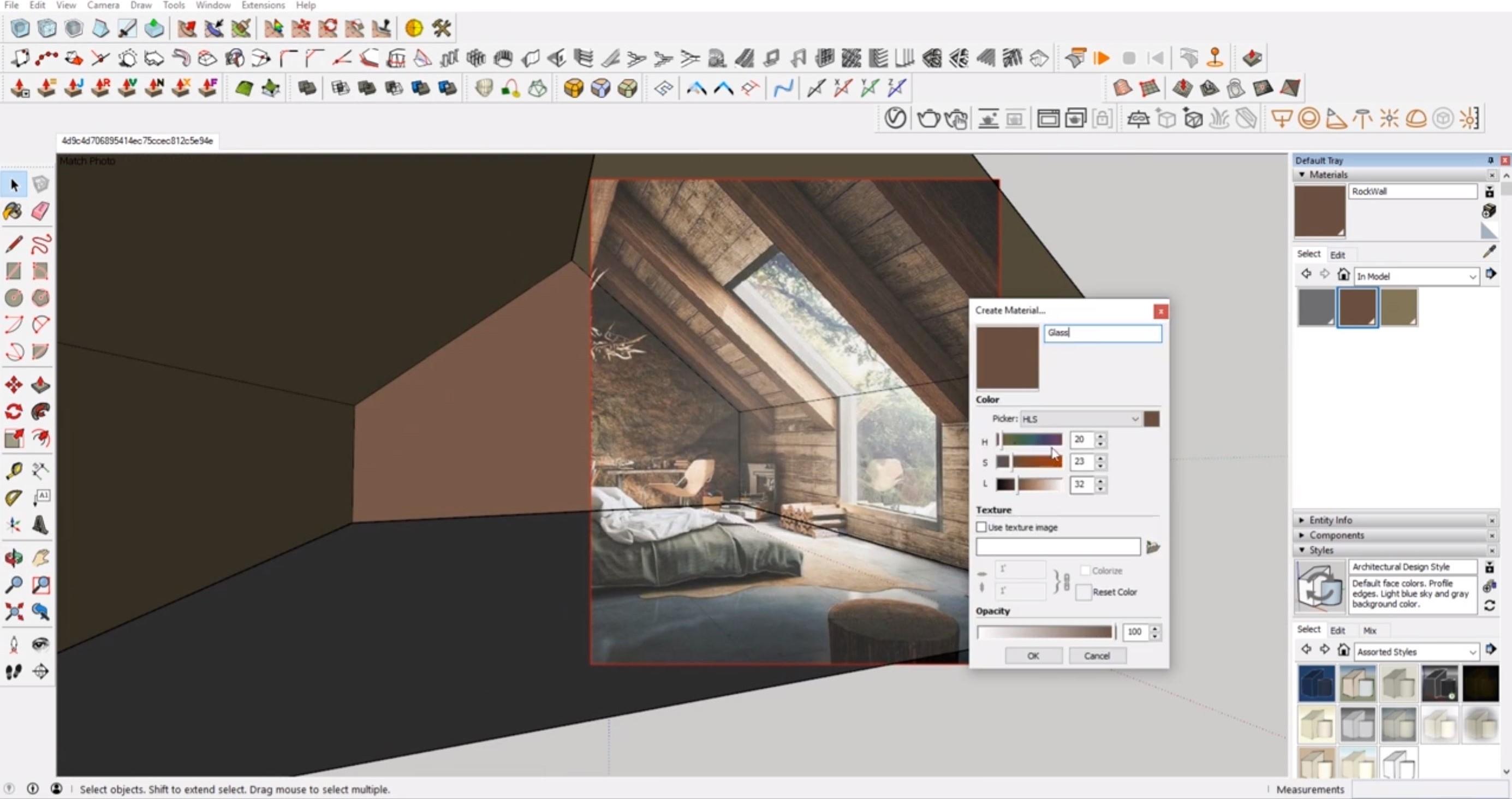 changing colors in interior Sketchup cozy attic bedroom model