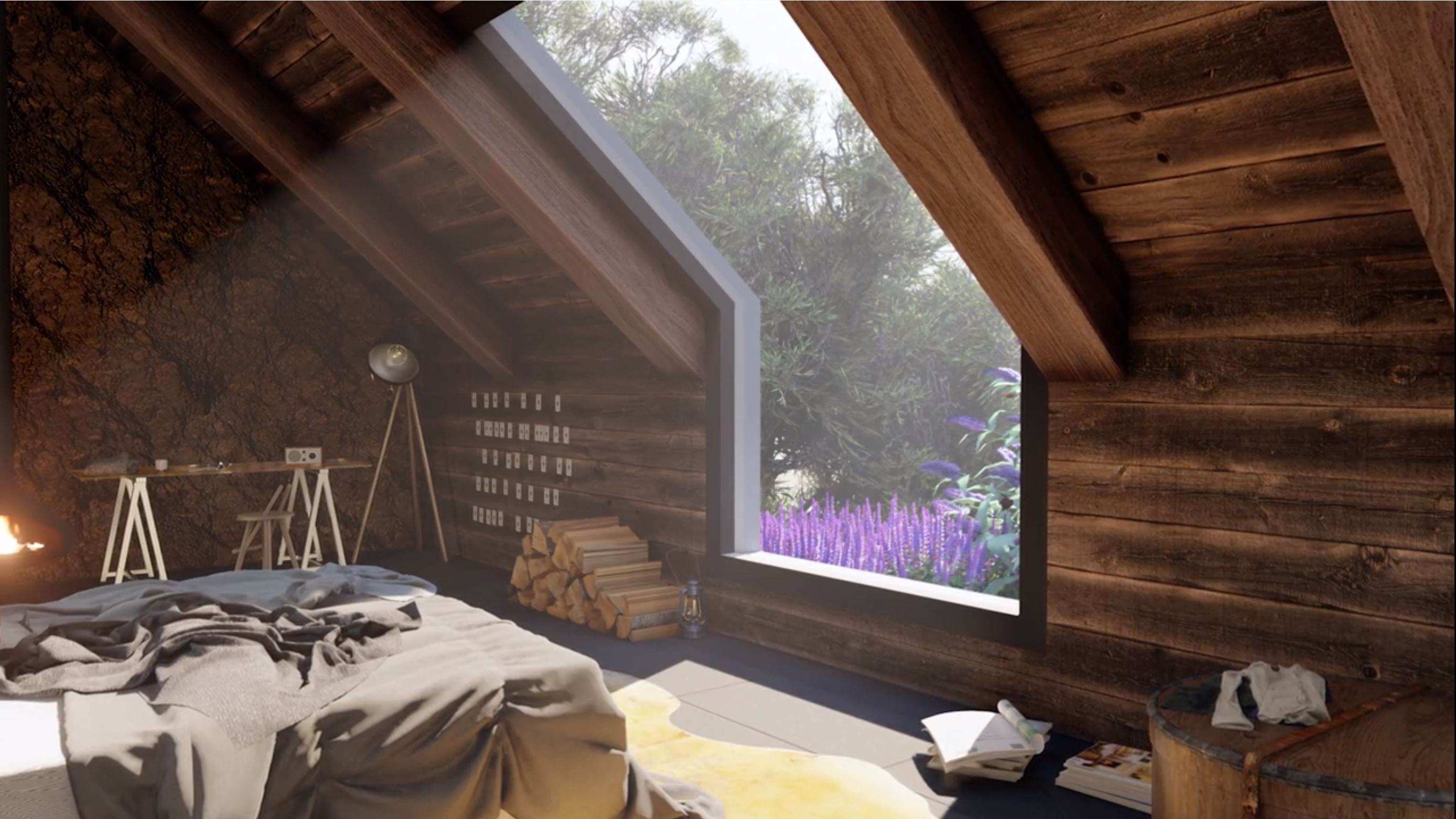 final rendering for interior Sketchup cozy attic bedroom model