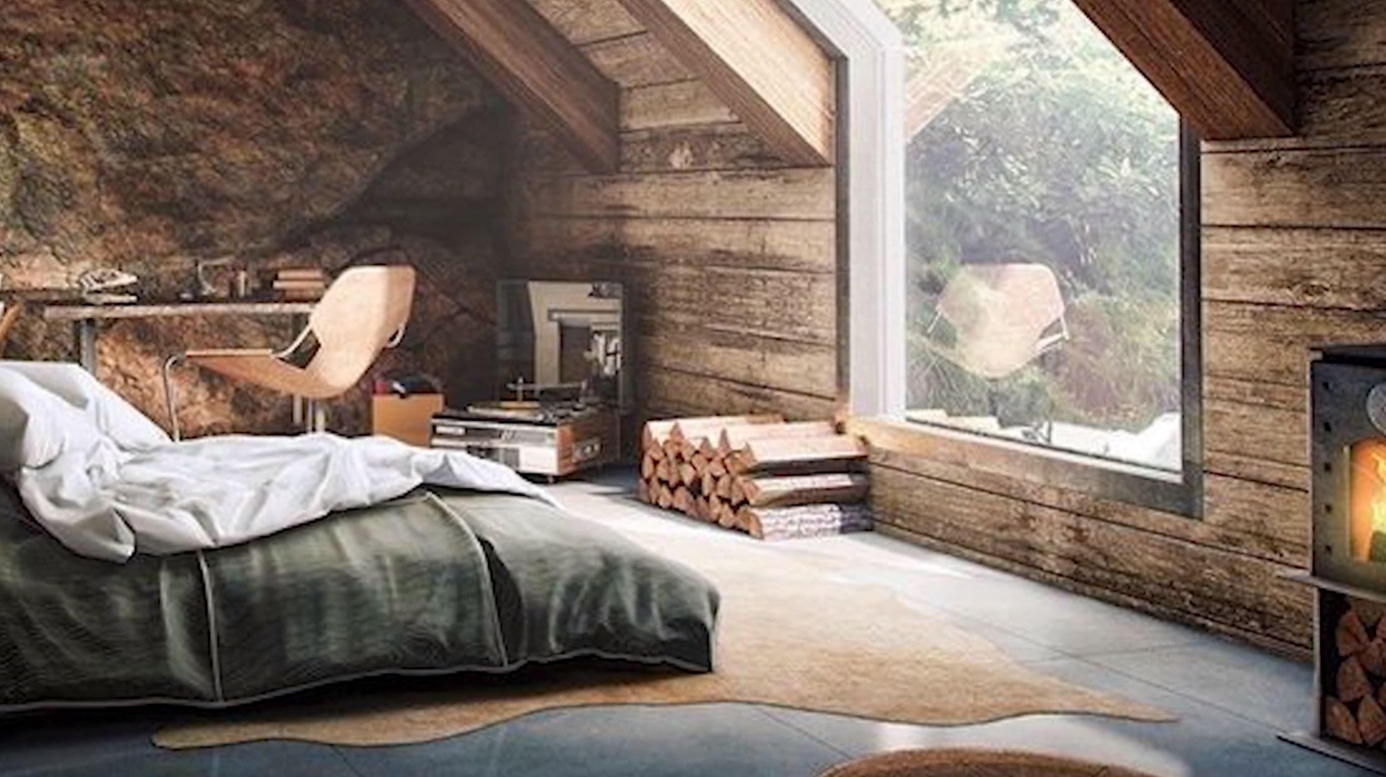 original image for interior Sketchup cozy attic bedroom model