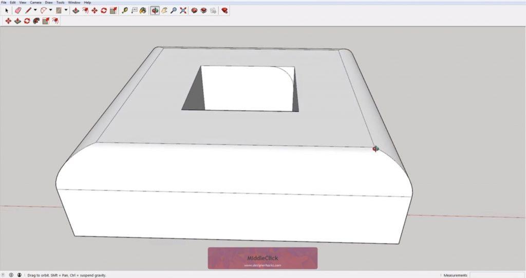 Beveled square using Sketchup follow me tool