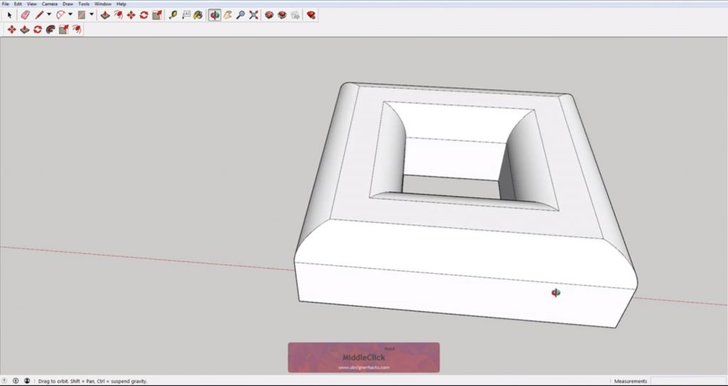 Finished beveled square using Sketchup follow me tool
