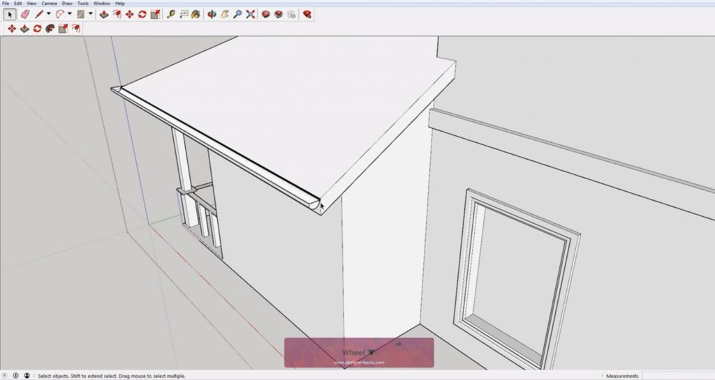 Finished rain gutter using Sketchup follow me tool