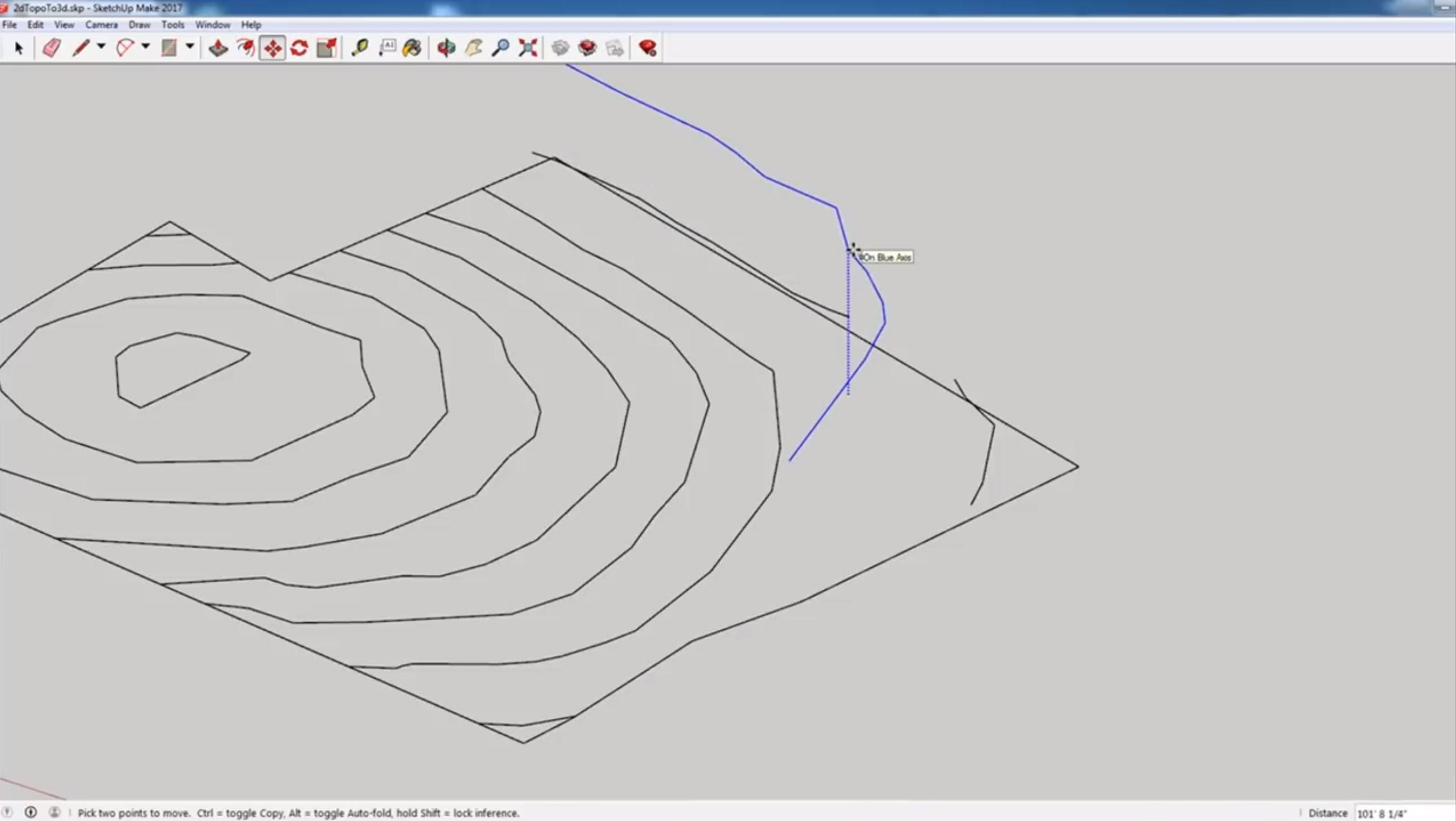 move survey to 3D contour lines