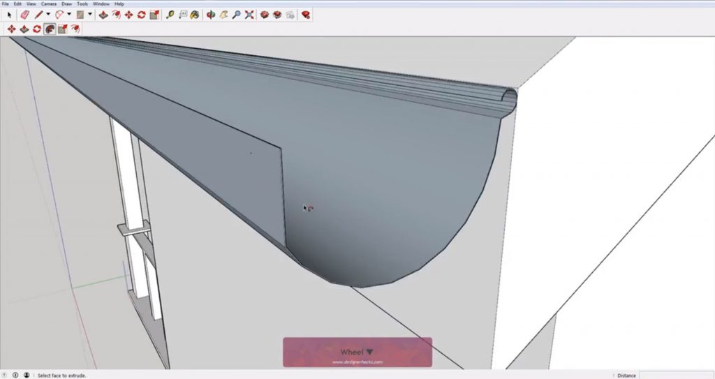Reversed rain gutter with Sketchup follow me tool