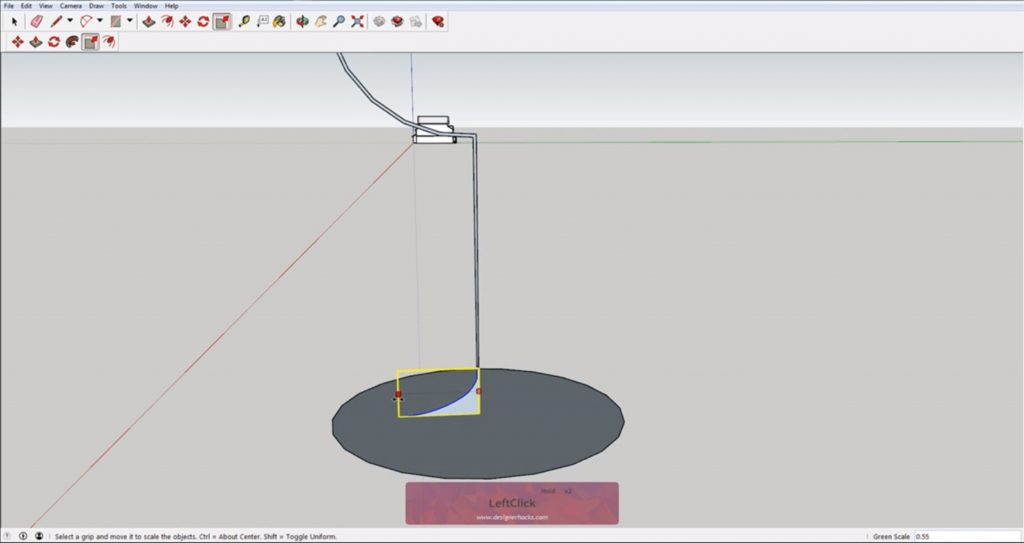 Scaling profile base for Sketchup follow me tool