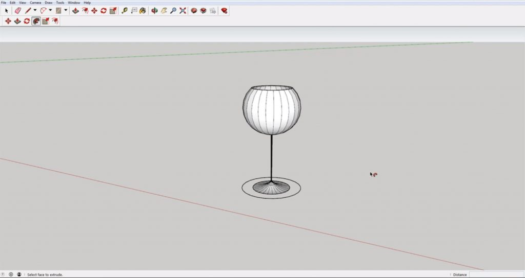 Small wine glass using Sketchup follow me tool