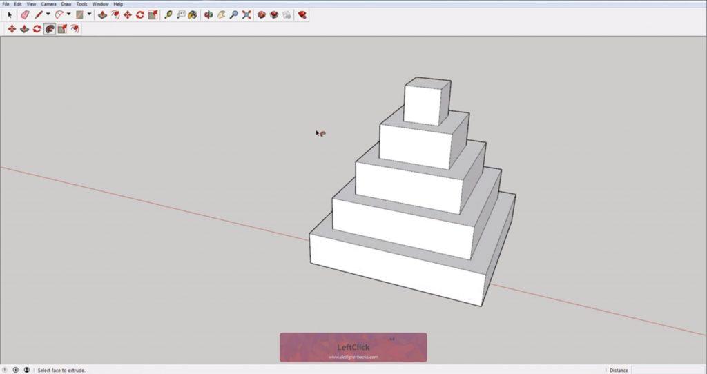 Stepped pyramid using Sketchup follow me tool