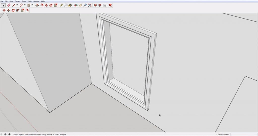 Finished window molding using Sketchup follow me tool