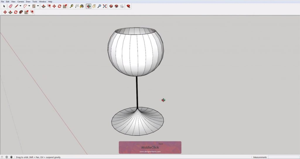 Finished wine glass using Sketchup follow me tool