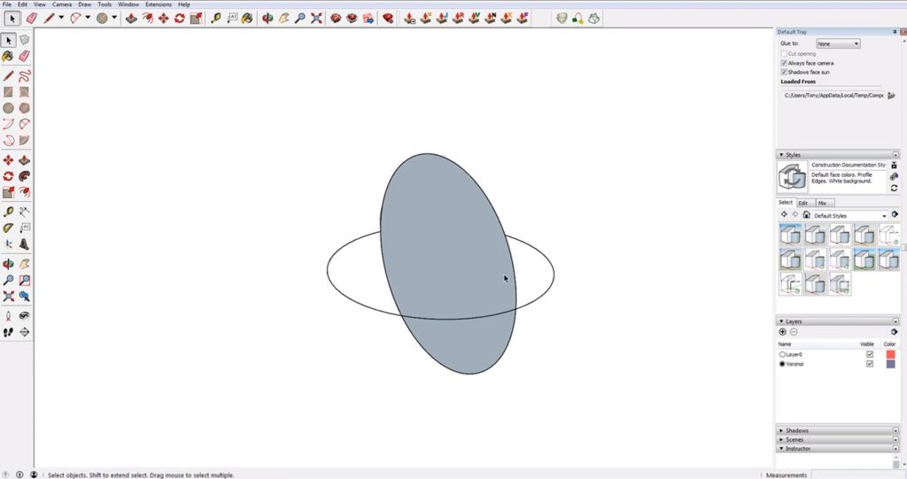 draw a second circle for a sphere in Sketchup