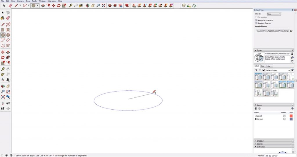 draw a circle to create a sphere in Sketchup