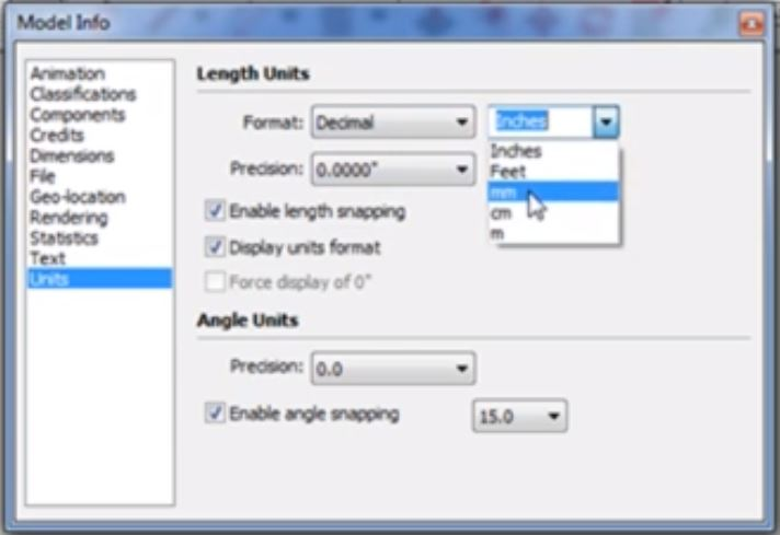 change units in Sketchup with format dropdown menus
