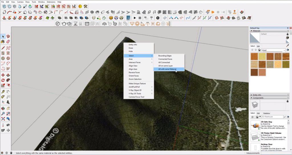 delete terrain on contour map
