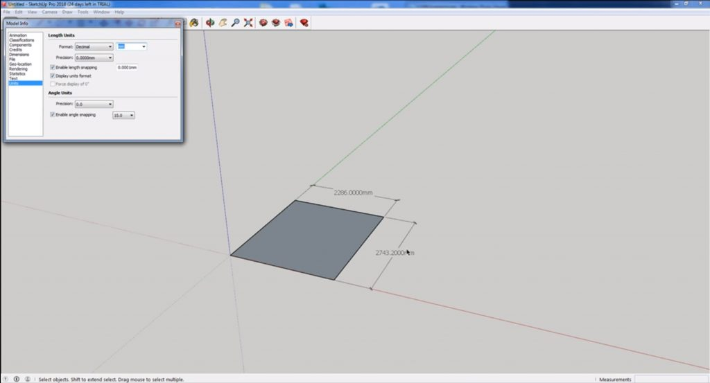 change units in Sketchup to mm