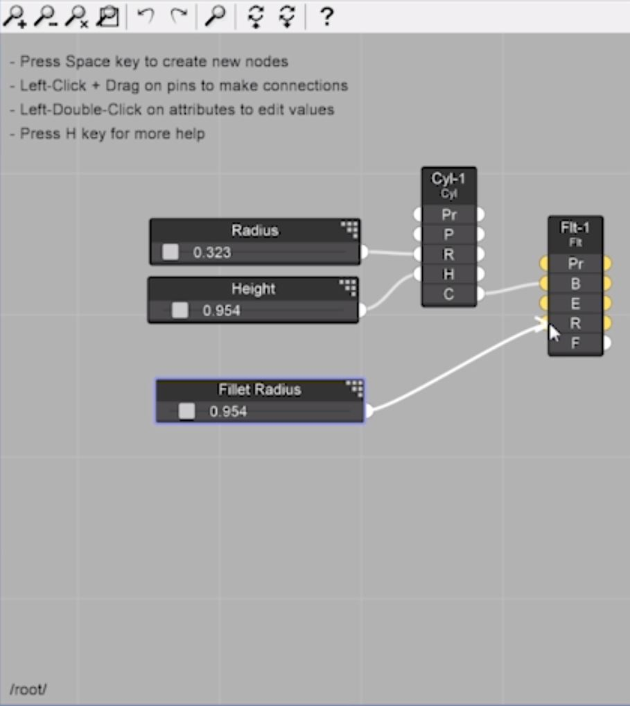 drag fillet radius to fillet node for parametric design in Sketchup