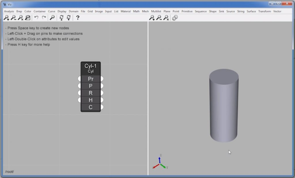 cylinder node of parametric design in Sketchup