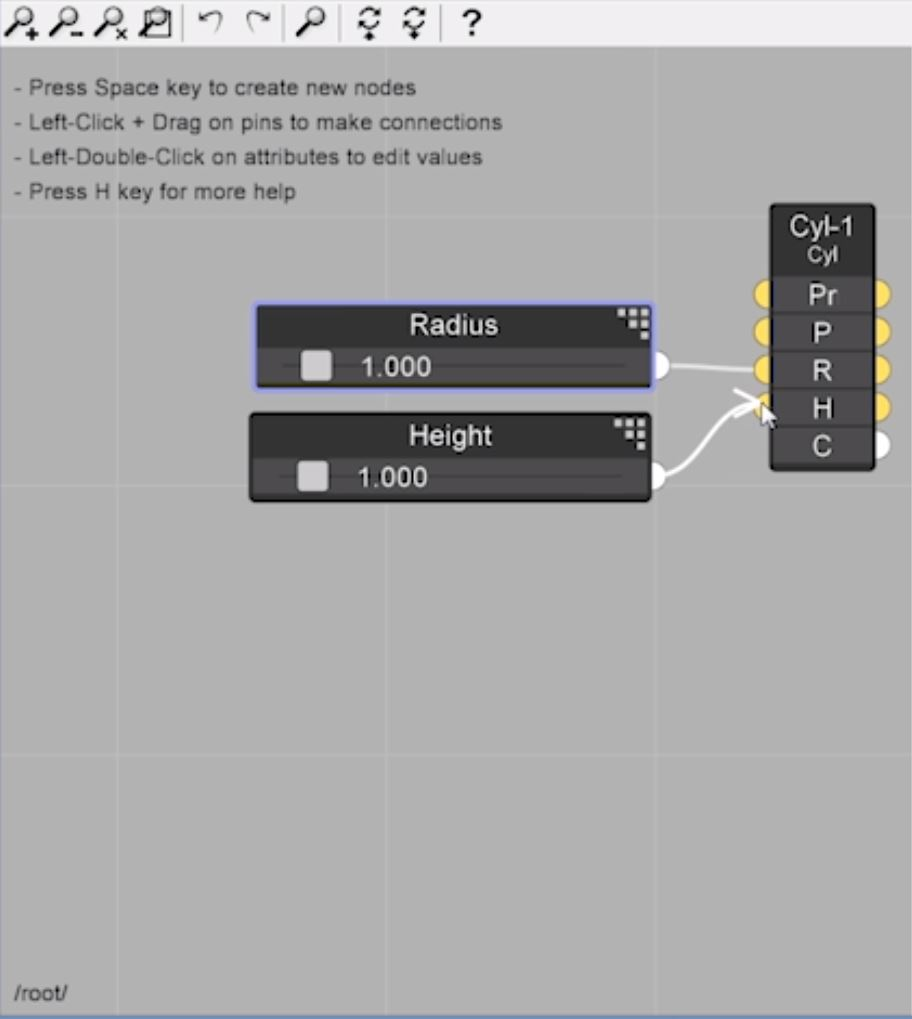 drag sliders to node for parametric design in Sketchup