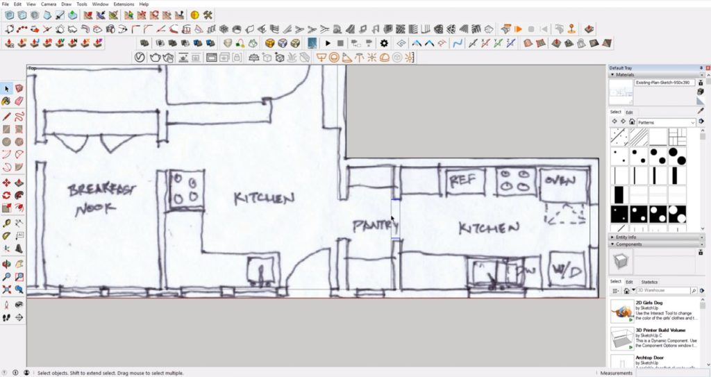 draw interior walls from floor plan to 3D