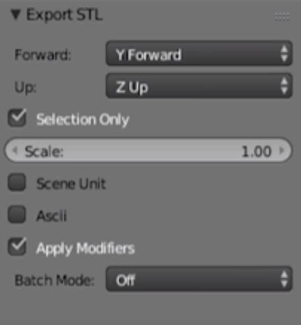 export options from Blender to Sketchup