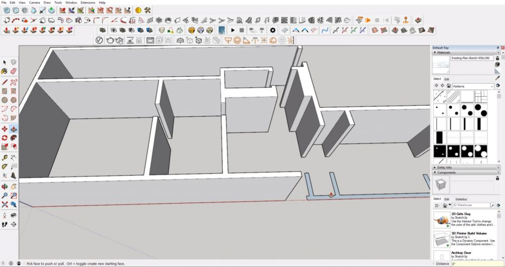 extrude walls from floor plan to 3D