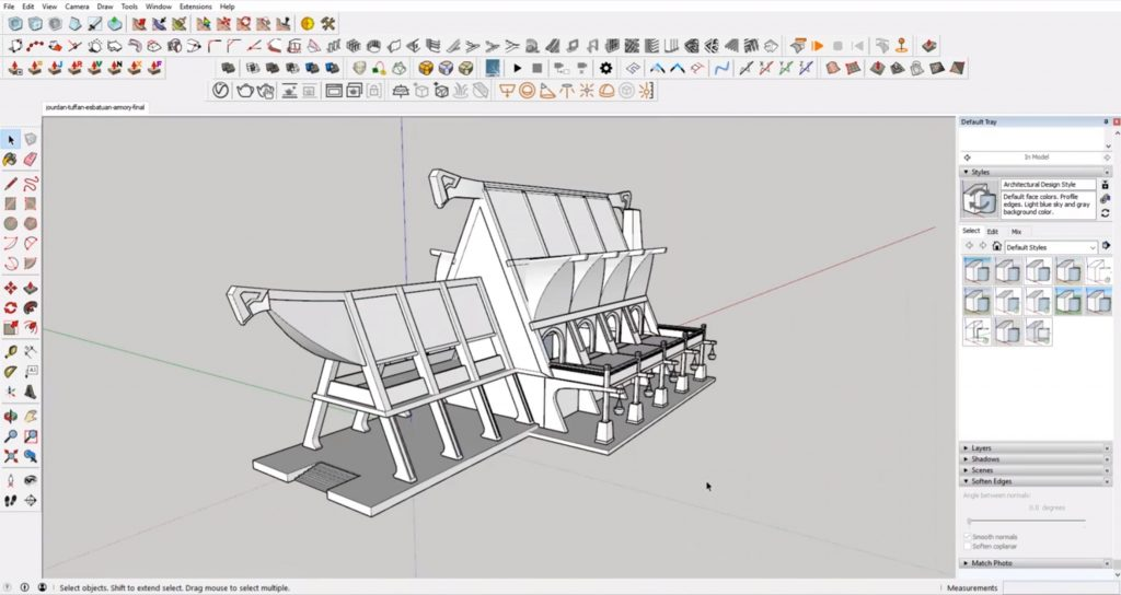 finished model from concept to 3D in Sketchup