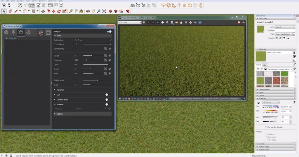 change length of realistic grass with vray