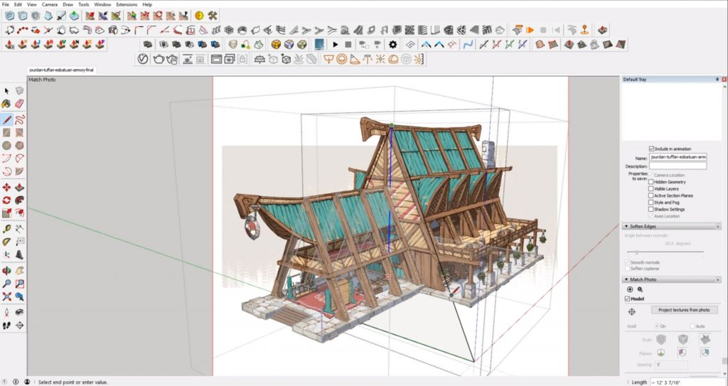 draw roof face from concept to 3D