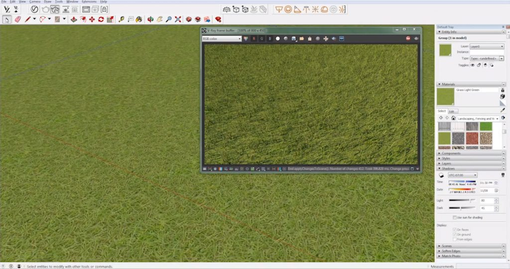 painted realistic grass with vray