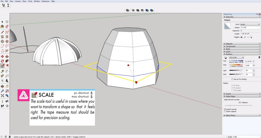 scaling polygons fro domes in Sketchup