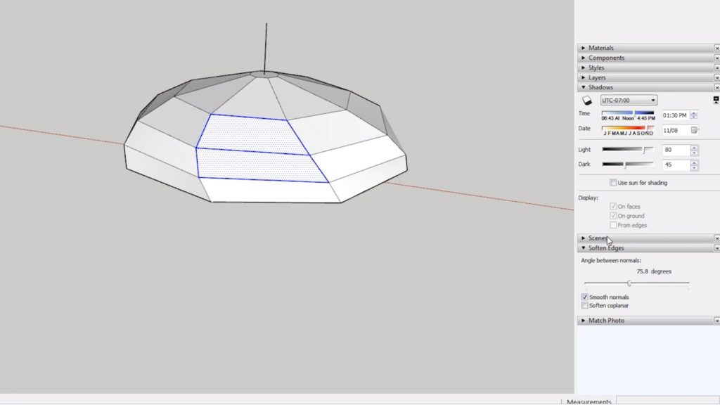 select faces of domes in Sketchup