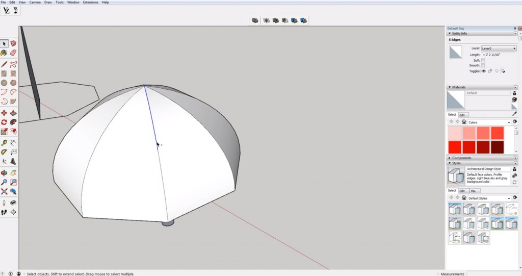 adding ribs to domes in Sketchup