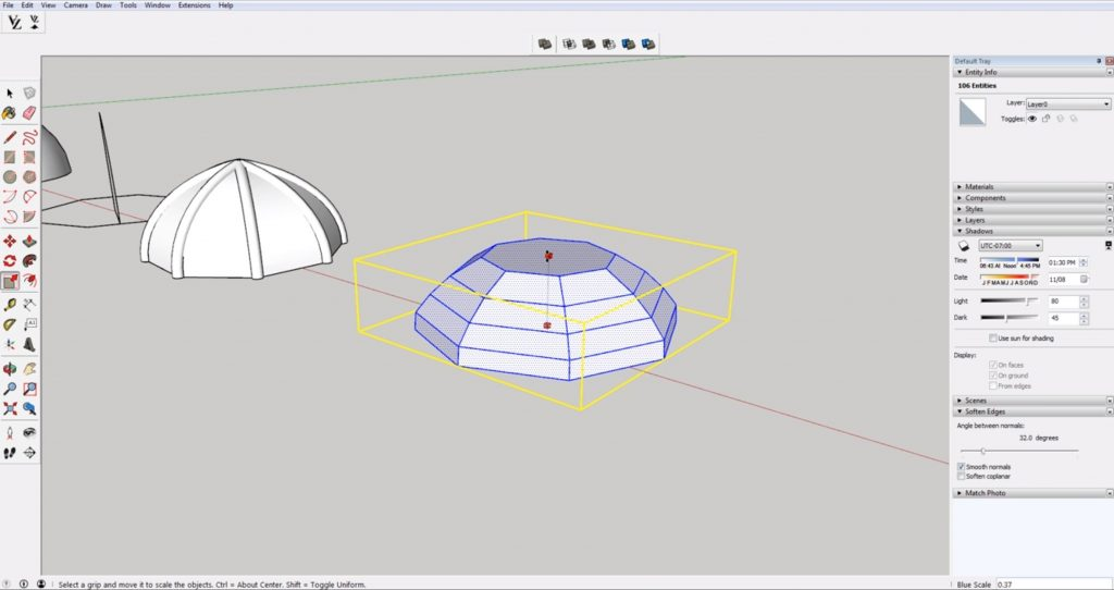 compress domes in Sketchup