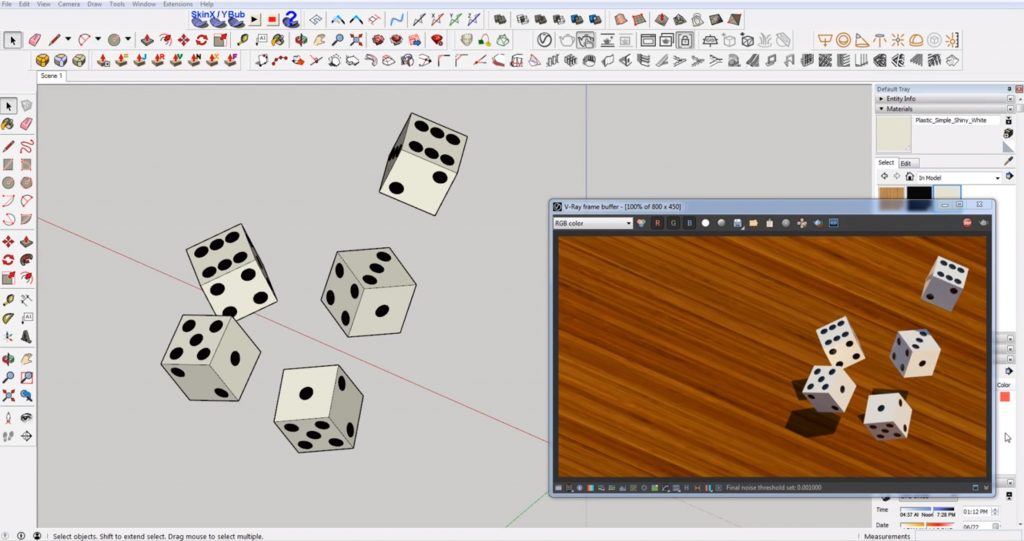 dice before adding round corners in Sketchup