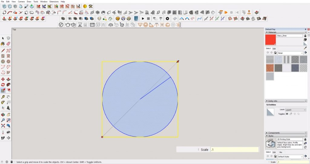 scale circle down to fix sketchup error