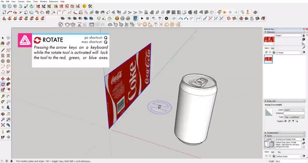 rotate image to apply texture to a curved surface