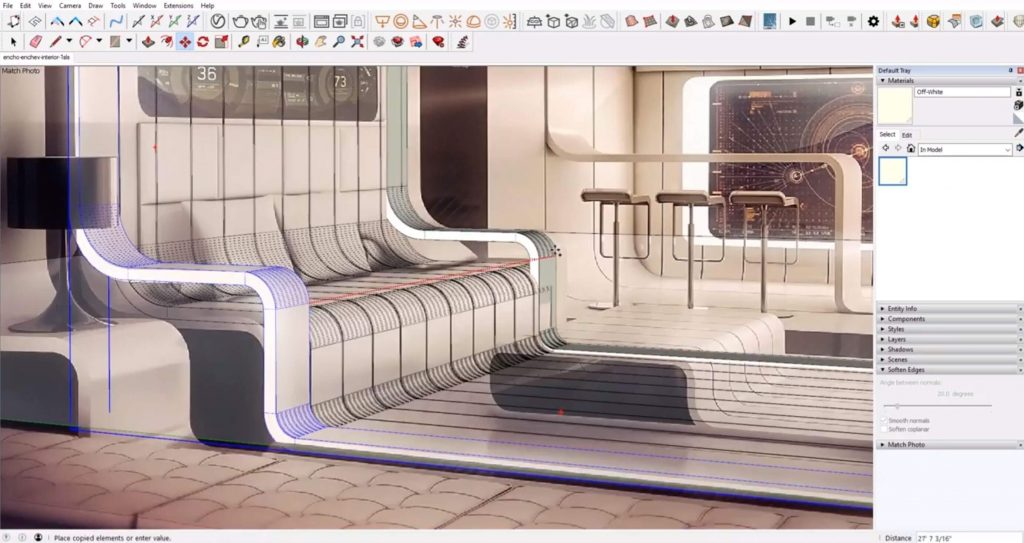 Futuristic Sketchup Interior Design | Sketchup Speed Model