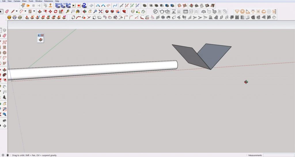 "create ""V"" to make angled cut in Sketchup"