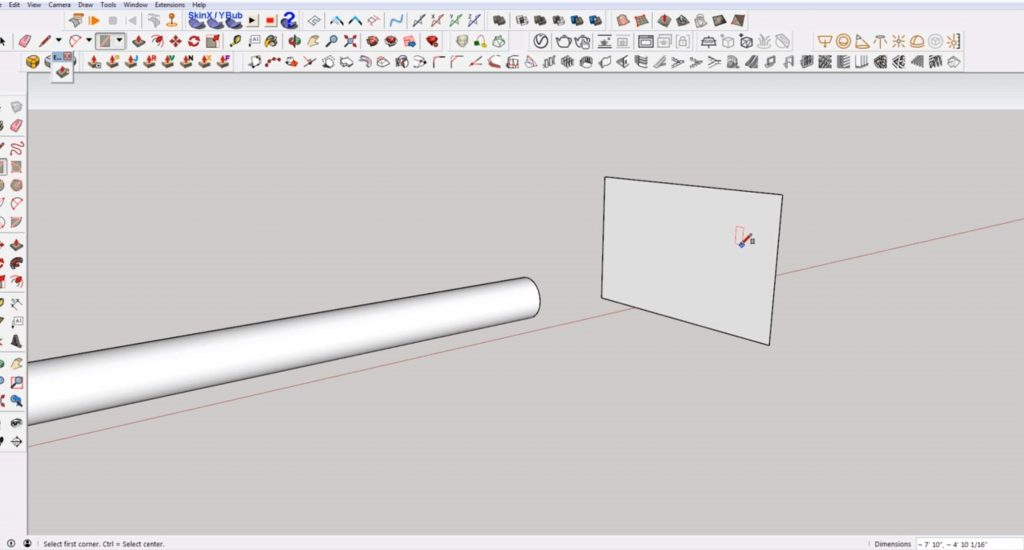 draw rectangle to make an angled cut in Sketchup