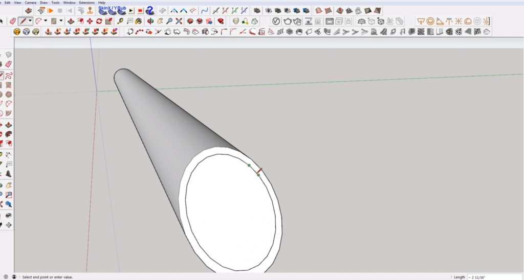 draw lines to finish angled cut in Sketchup