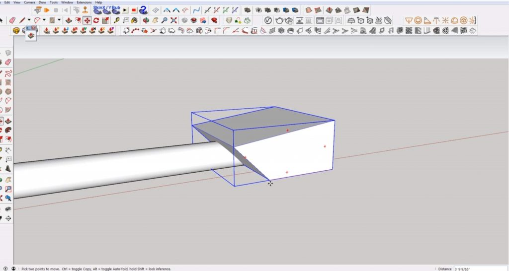 intersect cube with tube to make angled cut in Sketchup