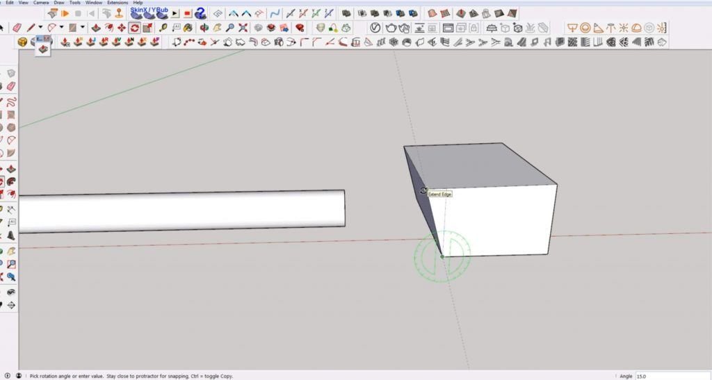 rotate cube face to make angled cut in Sketchup