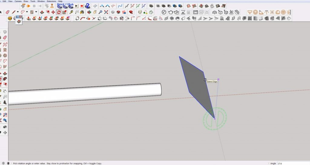 rotate rectangle to make an angled cut in Sketchup