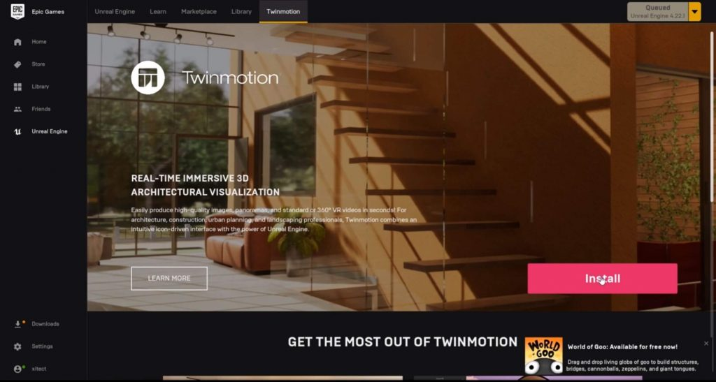 TwinMotion free download install button